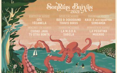 O SonRías Baixas 2021 celebrarase do 3 ao 8 de agosto e contará con Kase.O, La Pegatina, Sés, La M.O.D.A., Travis Birds, ISEO & Dodosound  ou Sabela no cartel